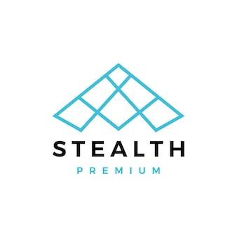 Ilustração do ícone do logotipo do bombardeiro stealth
