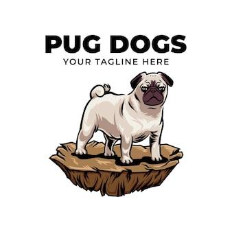 Ilustração do ícone do logotipo do conceito do cão pug legal isolada no fundo branco