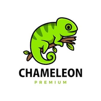 Ilustração do ícone do logotipo do desenho animado camaleão fofo