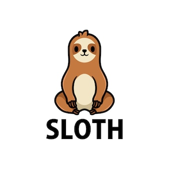 Ilustração do ícone do logotipo do desenho animado da preguiça fofa