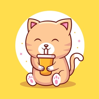 Ilustração do ícone do logotipo do gato fofo e do juic ilustração do animal de estimação premium em estilo simples