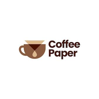 Ilustração do ícone do logotipo do gotejador do filtro de papel do café