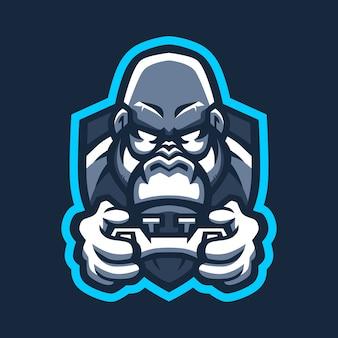 Ilustração do ícone do logotipo do joystick de jogos e esporte de gorila