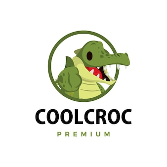 Ilustração do ícone do logotipo do personagem crocodilo polegar para cima