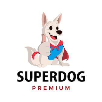 Ilustração do ícone do logotipo do personagem mascote super cachorro
