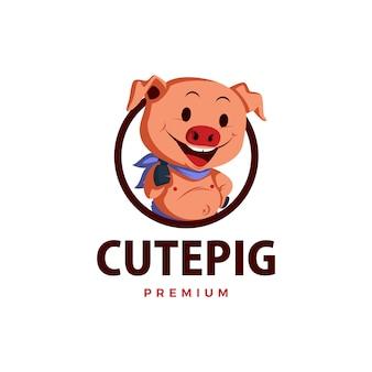 Ilustração do ícone do logotipo do personagem porco polegar para cima