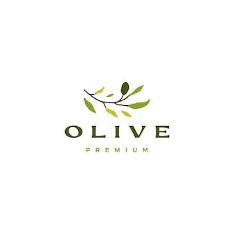 Ilustração do ícone do logotipo do ramo de oliveira