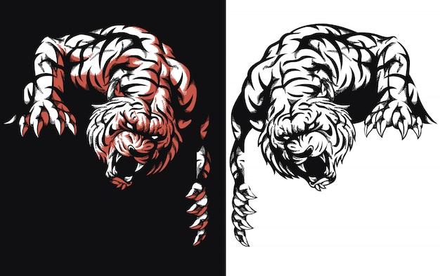 Ilustração do ícone do logotipo do tigre silhueta à espreita pronto para ataque no estilo preto e branco