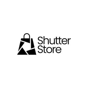 Ilustração do ícone do logotipo do vetor da lente da câmera da loja da loja de persianas