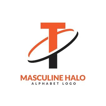 Ilustração do ícone do logotipo do vetor do anel geométrico masculino laranja e preto da letra t