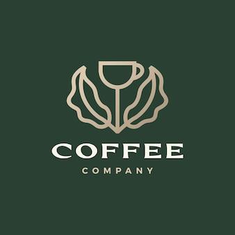 Ilustração do ícone do logotipo do vetor do broto da folha da árvore na xícara de café