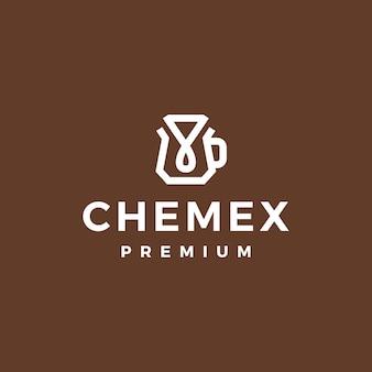 Ilustração do ícone do logotipo do vetor do filtro de papel do gotejador de café chemex