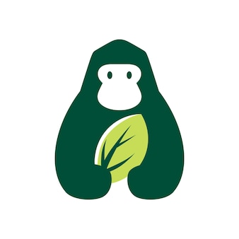 Ilustração do ícone do logotipo do vetor do logotipo do espaço negativo natural da folha do gorila