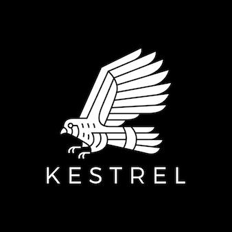 Ilustração do ícone do logotipo do vetor do pássaro kestrel preto