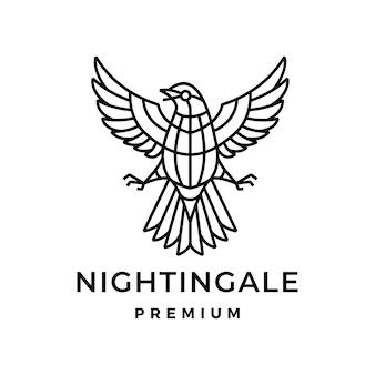 Ilustração do ícone do logotipo monoline do pássaro nightingale