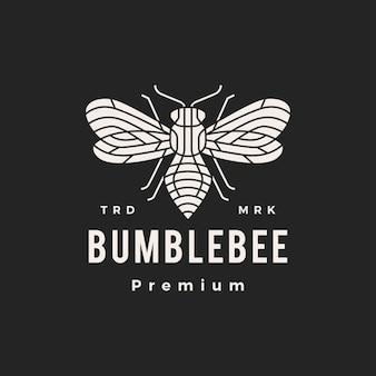 Ilustração do ícone do logotipo vintage bumble bee monoline hipster