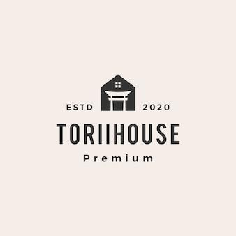 Ilustração do ícone do logotipo vintage da casa torii