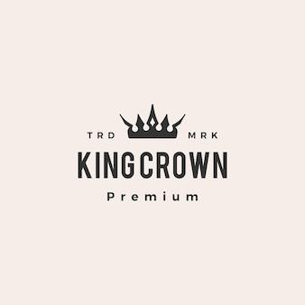 Ilustração do ícone do logotipo vintage da coroa do rei moderno