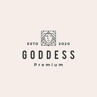 Ilustração do ícone do logotipo vintage da deusa