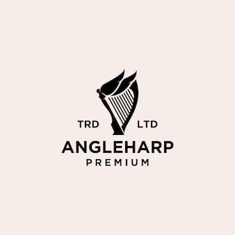 Ilustração do ícone do logotipo vintage da harpa de anjo