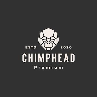 Ilustração do ícone do logotipo vintage de cabeça de chimpanzé