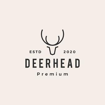 Ilustração do ícone do logotipo vintage de cabeça de veado