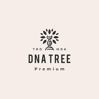 Ilustração do ícone do logotipo vintage de hipster de árvore de dna