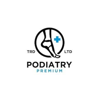 Ilustração do ícone do logotipo vintage de podologia Vetor Premium