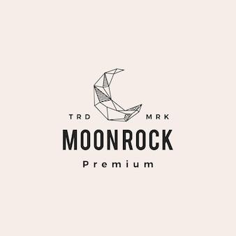 Ilustração do ícone do logotipo vintage de rock hippie em lua crescente