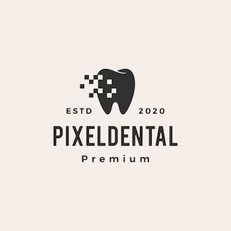 Ilustração do ícone do logotipo vintage digital de pixel dental