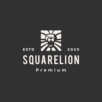 Ilustração do ícone do logotipo vintage do leão quadrado