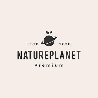 Ilustração do ícone do logotipo vintage do planeta folha broto