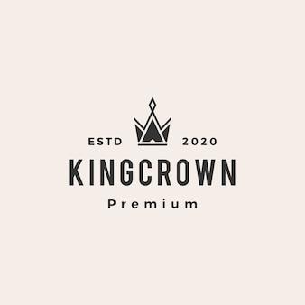 Ilustração do ícone do logotipo vintage do rei coroa hipster