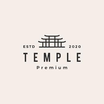Ilustração do ícone do logotipo vintage do temple torii gate Vetor Premium