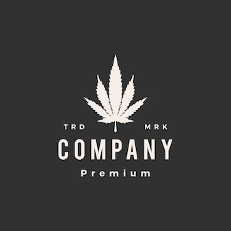 Ilustração do ícone do logotipo vintage híbrido de cannabis hipster