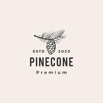 Ilustração do ícone do logotipo vintage hipster de pinha