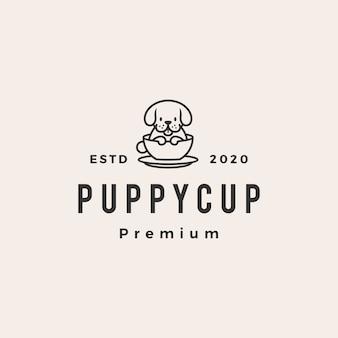 Ilustração do ícone do logotipo vintage hipster de xícara de cachorro