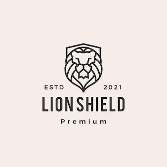 Ilustração do ícone do logotipo vintage hipster do escudo do leão