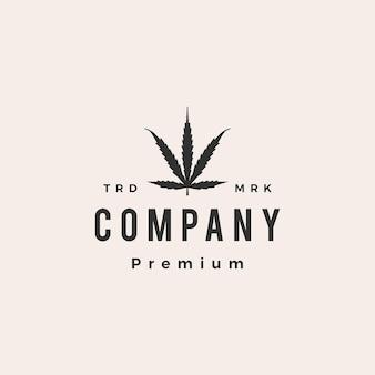 Ilustração do ícone do logotipo vintage ruderalis cannabis hipster