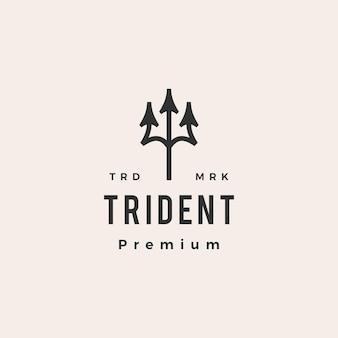 Ilustração do ícone do logotipo vintage trident hipster