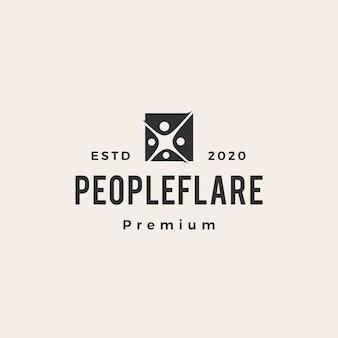 Ilustração do ícone do logotipo vintage vintage com sinalização de pessoas