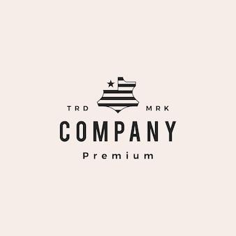 Ilustração do ícone do logotipo vintage vintage em couro americano genuíno sintético