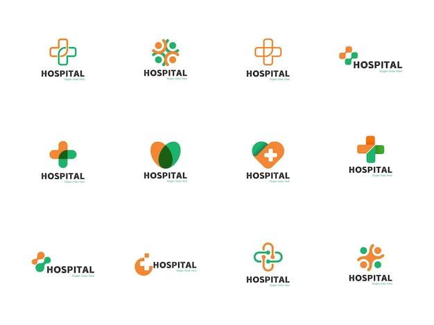 Ilustração do ícone do modelo de logotipo médico e de saúde definida em forma de cruz, coração, redondo