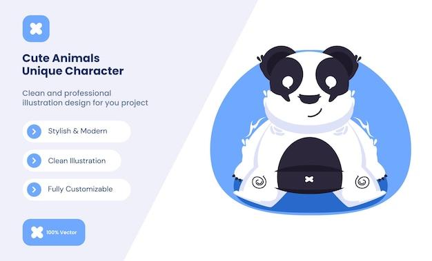 Ilustração do ícone do panda fofo. conceito de ícone de amor animal