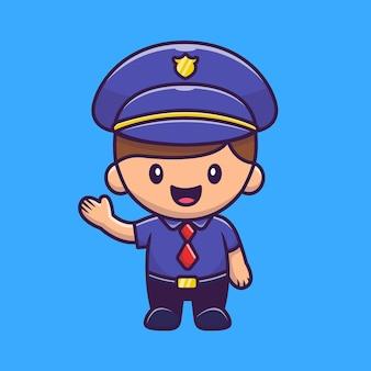 Ilustração do ícone do policial. conceito de ícone de profissão de pessoas.