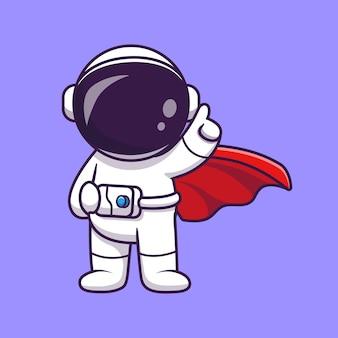 Ilustração do ícone do vetor bonito dos desenhos animados do super-herói do astronauta.
