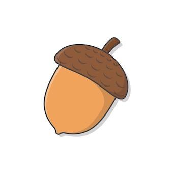 Ilustração do ícone do vetor da bolota. ícone plano de bolota de outono