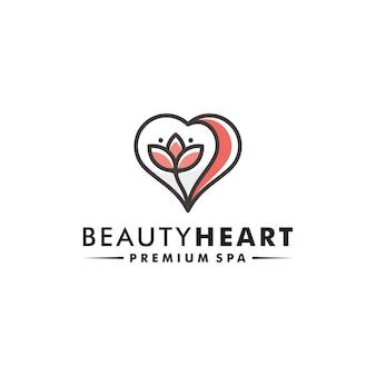 Ilustração do ícone do vetor da natureza do logotipo da flor do coração
