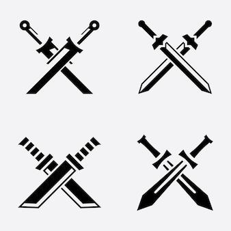 Ilustração do ícone do vetor de espadas cruzadas