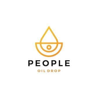 Ilustração do ícone do vetor do logotipo da gota de óleo de pessoas